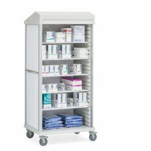 Roam 2 Medical Supply Cart with 5 Shelves, Roll-Top Door
