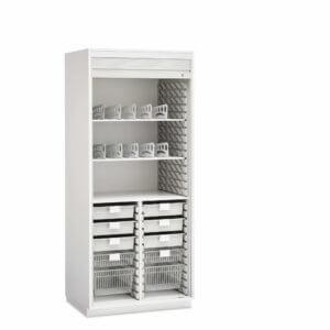 "Evolve Cabinet with Split Center Column, 36"" wide, Roll-Top Door, with Accessories"